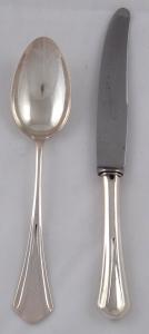 Secesní stříbrný nůž a lžíce - Alexandr Sturm, Vídeň (1).JPG