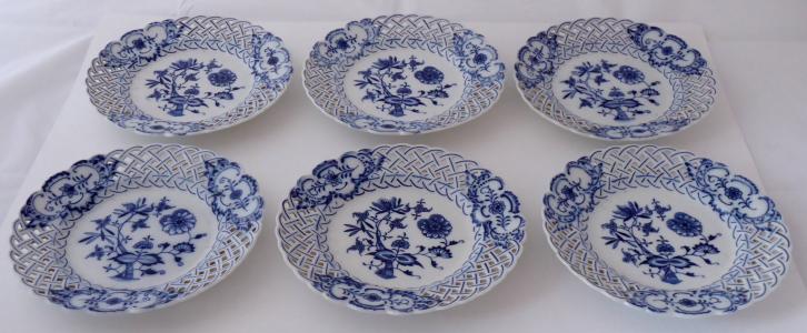 Šest talířů, cibulový vzor - Teichert, Míšeň (1).JPG