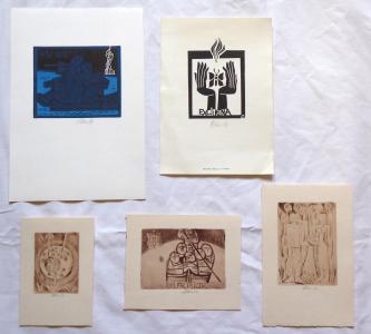 Miroslav Houra - 4 x Ex libris, 1 x barevný linoryt (1).JPG