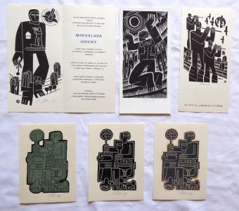 Miroslav Houra - 3 x Ex libris, Pozvánka, PF 1979, Slunovrat (1).JPG
