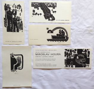 Miroslav Houra - PF 1976, 2 x PF 1979, Ex libris, Pozvánka Hollar (1).JPG