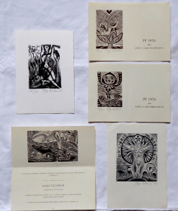 Olga Čechová - 2 x PF 1976, 2 x Ex libris, Pozvánka na výstavu (1).JPG