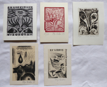 Olga Čechová - 3 x Ex libris, Kapka, Srdce na dlani (1).JPG