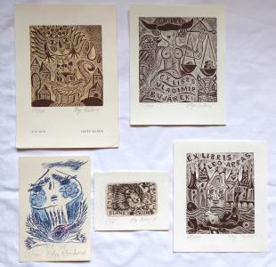 Olga Čechová - Tři ex libris, PF 1976, PF 1979 (1).JPG