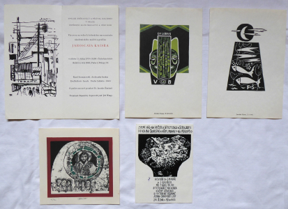Jaroslav Kaiser - 2x exlibris, Ikona, 2x Pozvánka (1).JPG