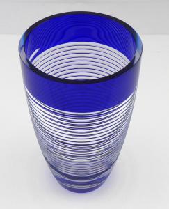 Váza, kobaltové a křišťálové sklo - sklárny Josefodol (1).JPG
