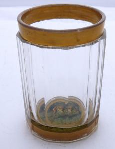 Sklenice dvoustěnná, malovaný medailon se srncem (1).JPG
