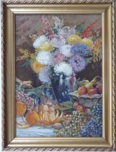 Zdeněk Nemastil - Zátiší s květinami, ovocem a mísou (1).JPG